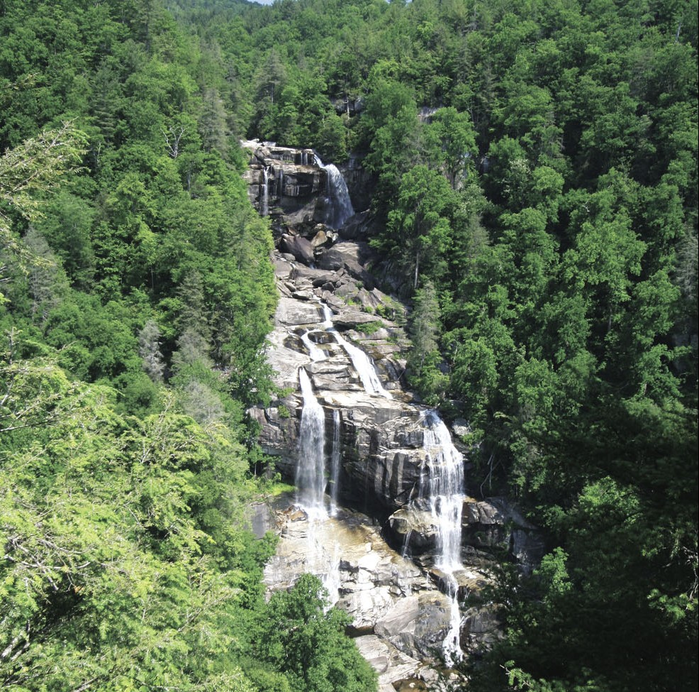 At 411 feet, Whitewater Falls, on the border of North and South Carolina, is the tallest waterfall east of the Rockies.