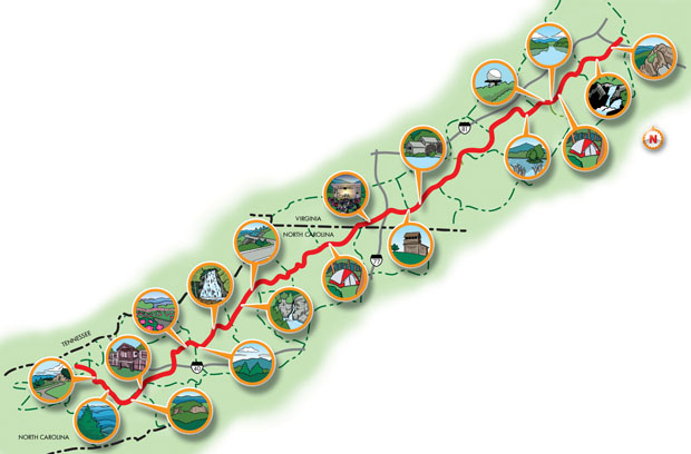 Blue Ridge Outdoors - Blue Ridge Parkway Highlights Map