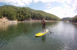 Mike Peery, first day on paddleboard at Lake Moomaw