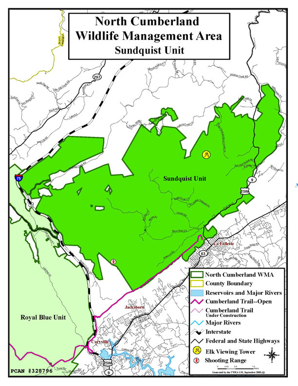 Map of North Cumberland Plateau