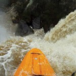 Paddler Isaac Levinson's helmet camera captures the view from the lip of 90-foot Noccalula Falls. Photo: Isaac Levinson