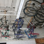 Used bike frames hang from the ceiling awaiting a rebuild and new owner.