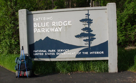 Parkway entrance sign at Rockfish Gap.