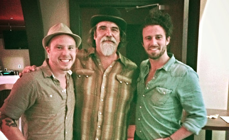 Chris Weller, Darrell Scott, and Brandon Whyde (l to r) at Scott's CD release party at the Franklin Theatre in Franklin, TN.