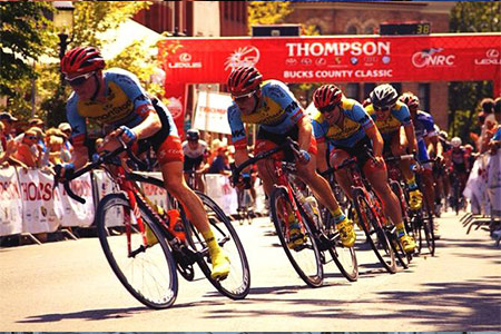 Team SmartStop setting the pace on the front of the Thompson Bucks County Criterium. That's me hurting in third wheel from the front.
