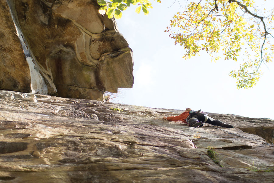 Climber Adam Ritter leading Best Seat in the House in the Obed. Photo: Jess Daddio