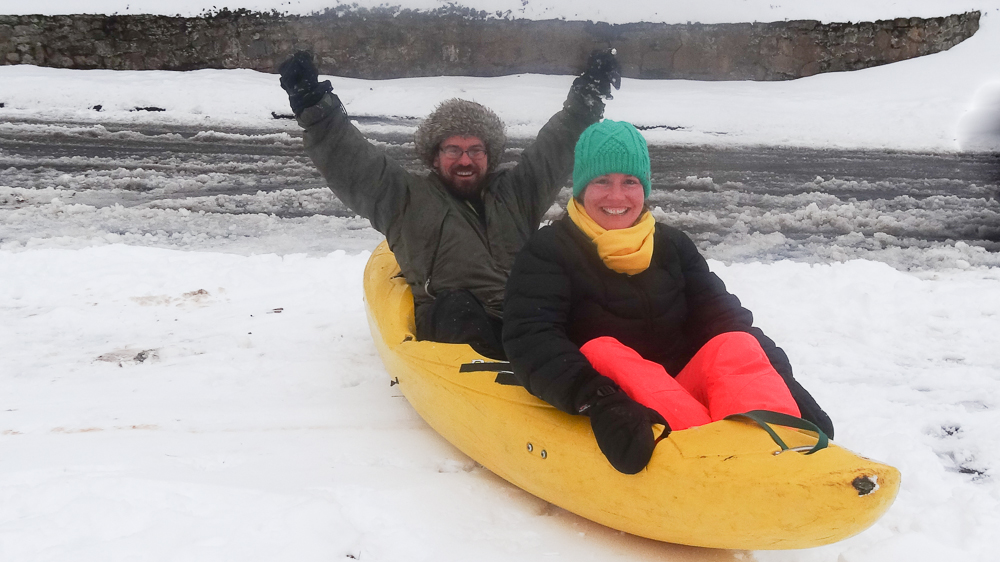 Customize an old broken down kayak into the perfect sled. Photo by Meghan Rolfe.