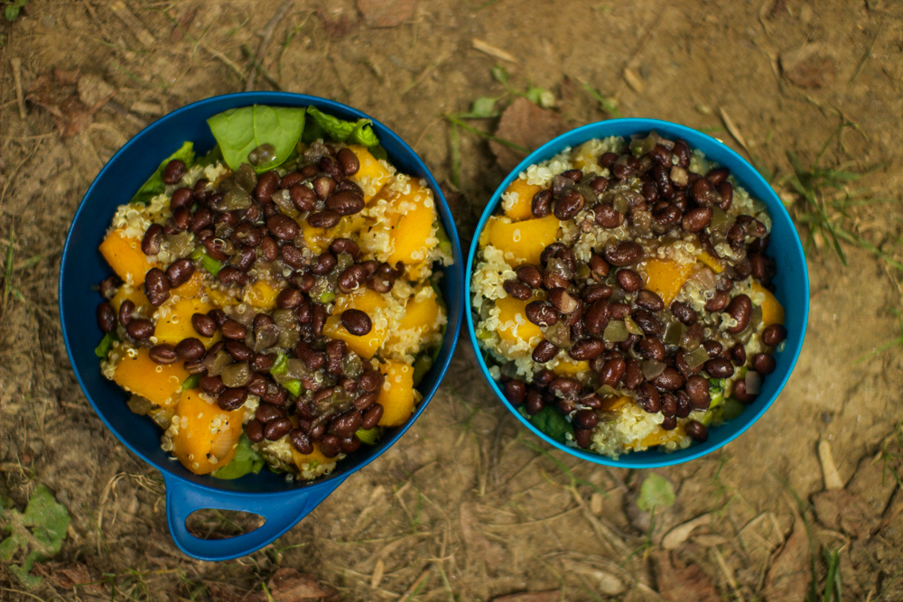 Our first backcountry meal together: spinach, butternut squash, black beans, and quinoa.