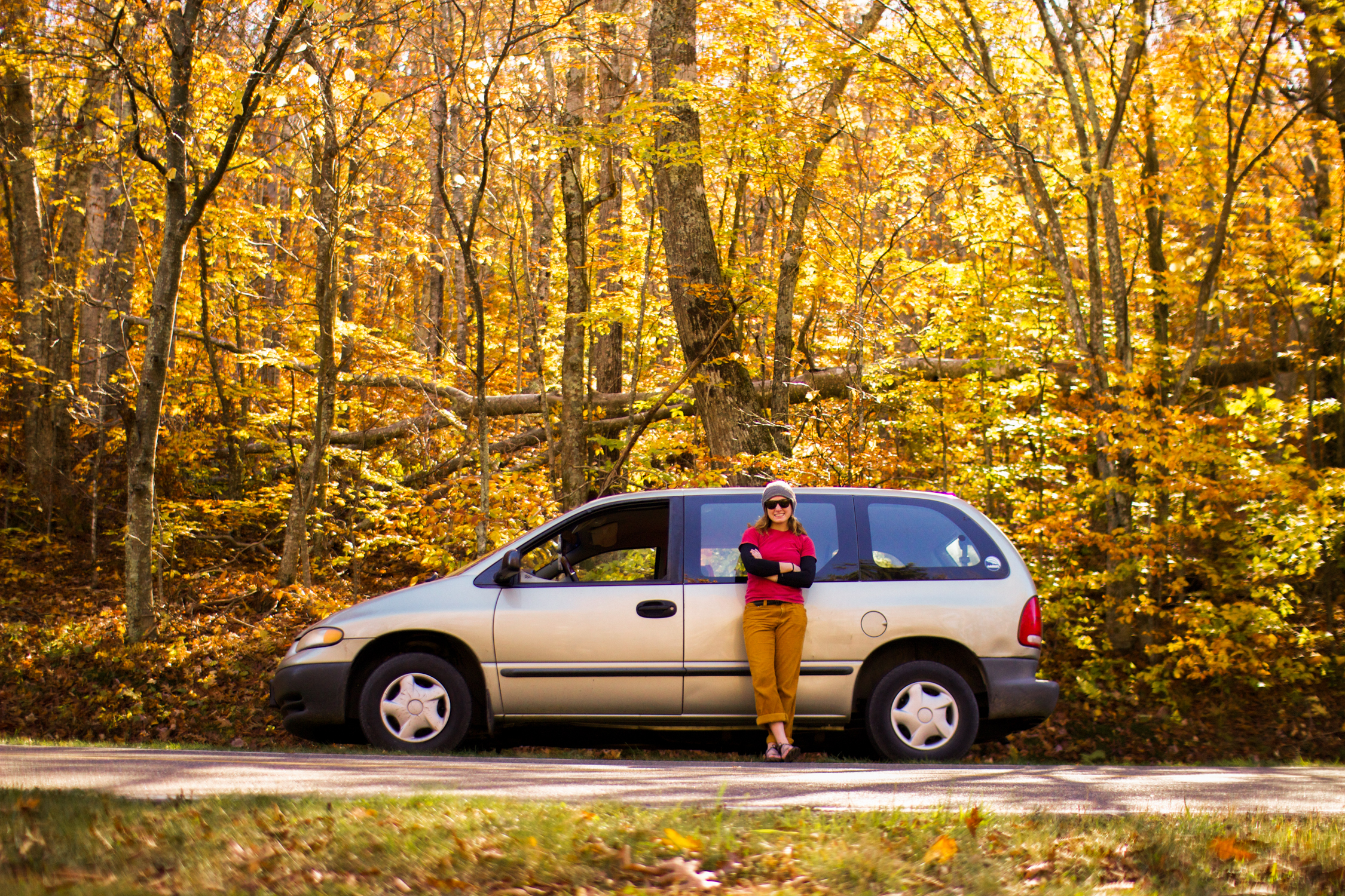 Posing in front of Rosie, aka the minivan-turned-storage-shed, circa fall of 2013.