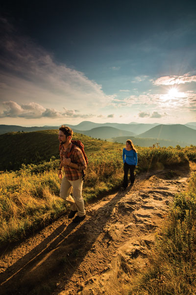 Joe and Kelly Spencer hike black balsam on the blue ridge parkway.