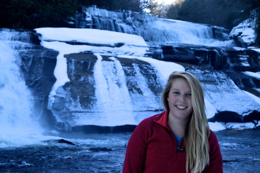 Enjoying a snowy day at Triple Falls in DuPont State Forest.​ Photo cred: Sarah Harrison