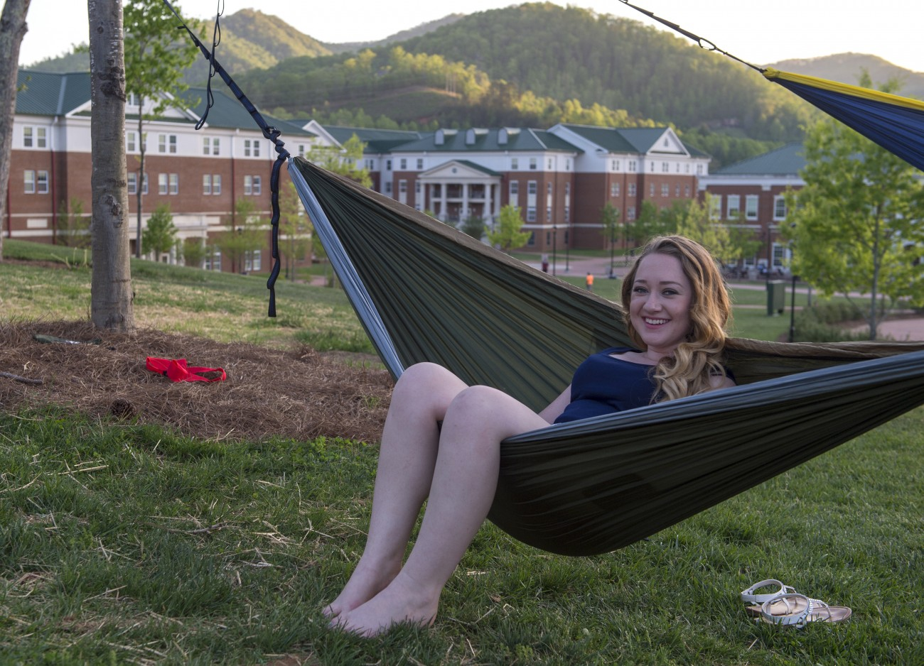 BRO hammock with campus in background