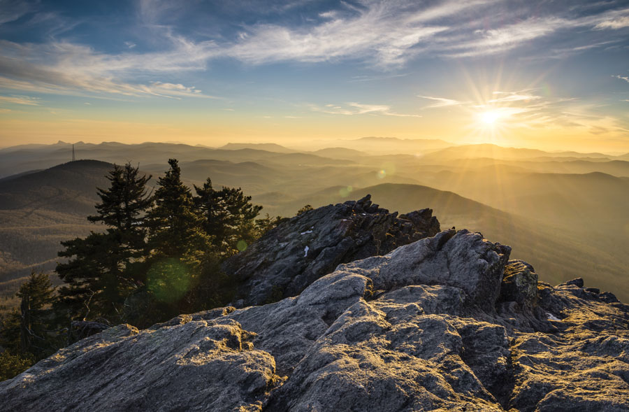 Grandfather Mountain Appalachian Sunset Blue Ridge Parkway Western NC in the mountains of North Carolina