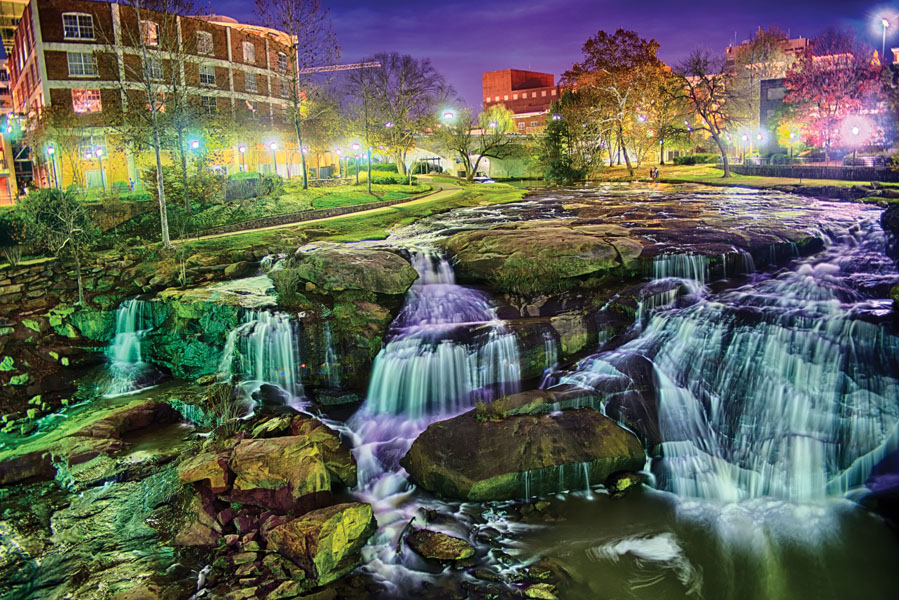 Greenville South Carolina near Falls Park River Walk at nigth.