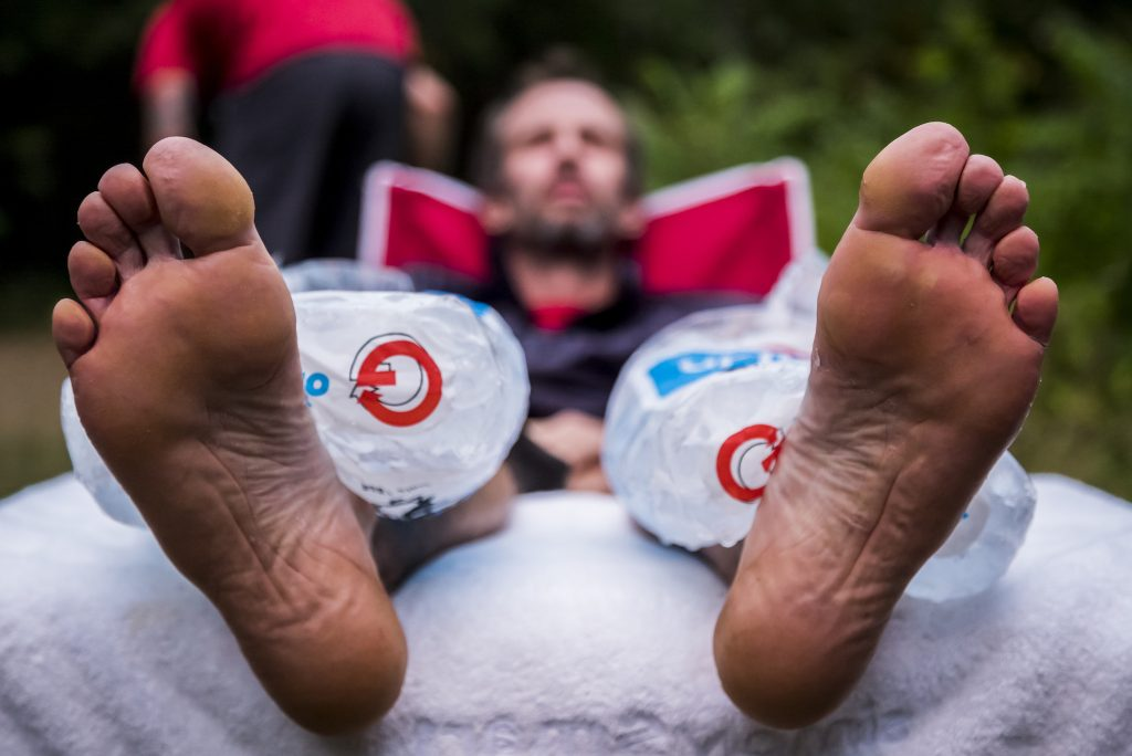 Karl Meltzer takes a break to rest his legs during his attempt to break the record for running the length of the Appalachian Trail. on 5 August, 2016. / Red Bull Content Pool