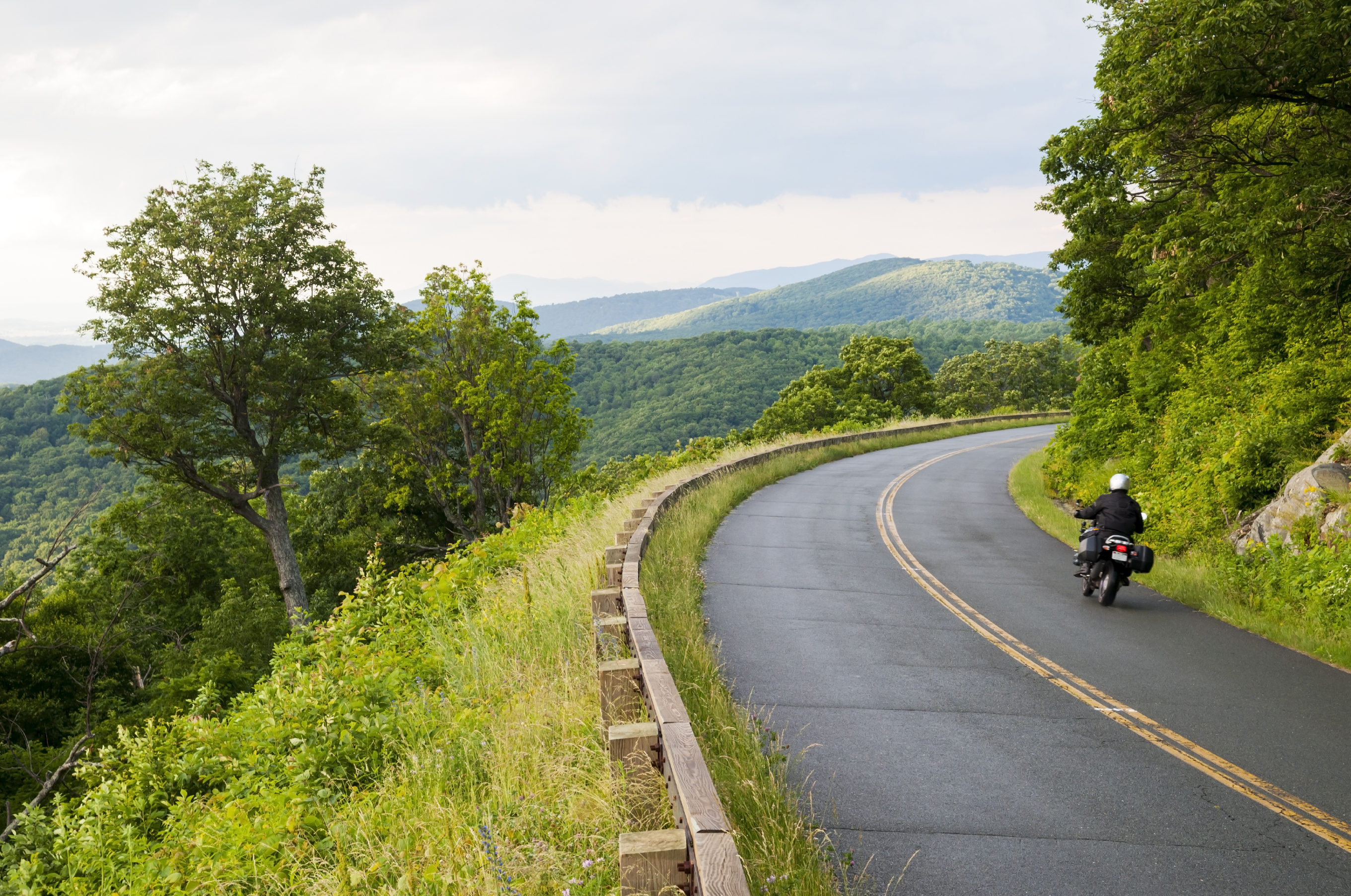 Motorcyclist on the Blue Ridge Parkway in Virginia