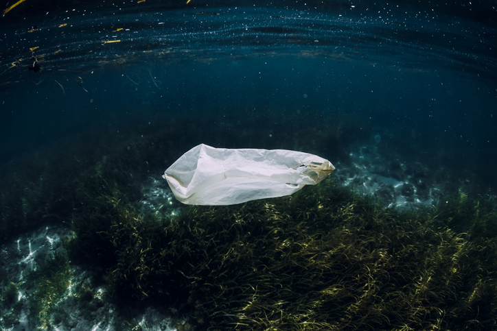 Underwater view with plastic bag in ocean, ecological concept