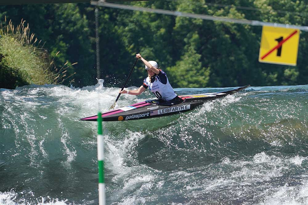 Leibfarth runs the Sava River during the World Cup in Tacen, Slovenia. / Photo by Jean Folger.