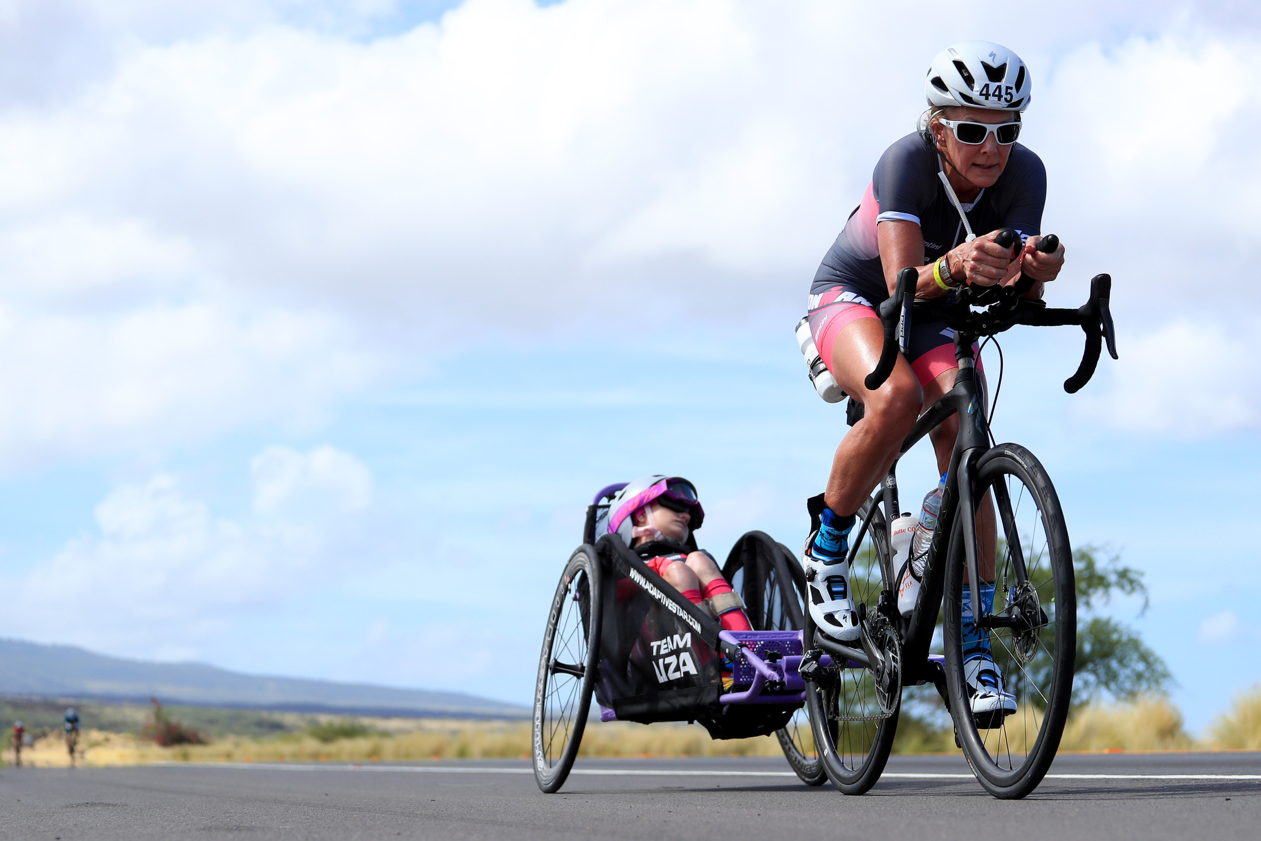 KAILUA KONA, HAWAII - OCTOBER 12: Beth James and daughter Liza James of Team Liza compete in the Ironman World Championships on October 12, 2019 in Kailua Kona, Hawaii. (Photo by Tom Pennington/Getty Images for IRONMAN)