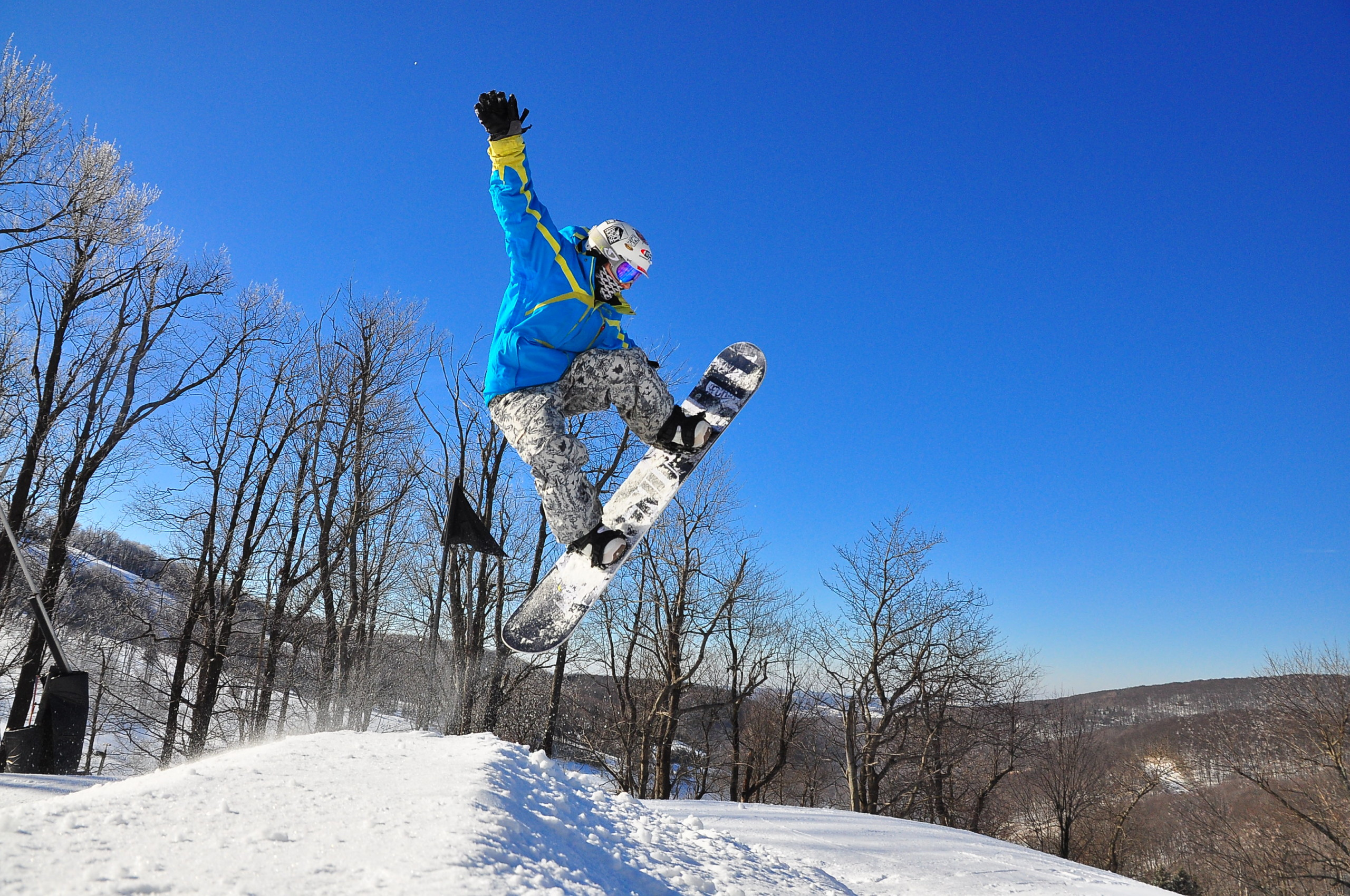 Seven Springs Mountain Resort is home to the only 22ft Superpipe in the East, plus 7 other terrain parks for all skill levels.