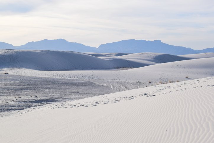 Great wave-like dunes of gypsum sand have created the world's largest gypsum dunefield.