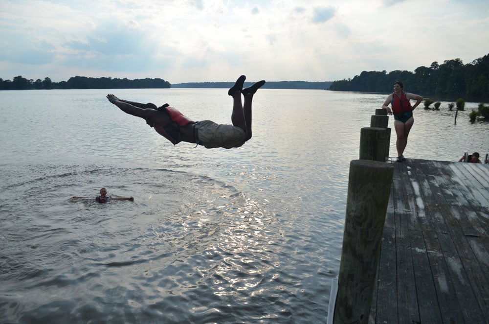 Taking a dip in the James River