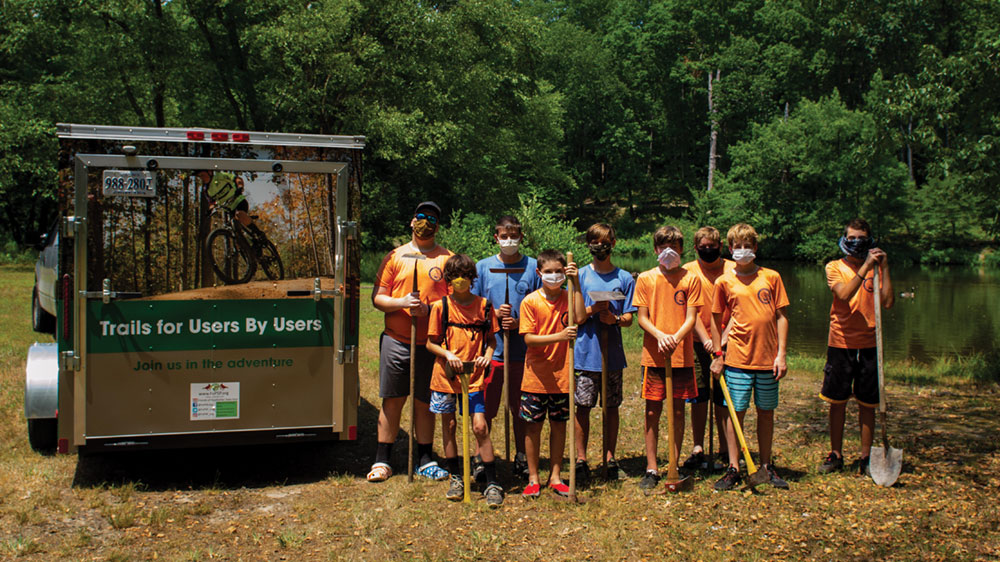 Boy Scout troop assists with a trail project at Virginia's Pocahontas State Park