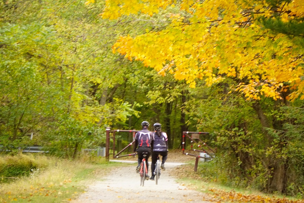 Couple Cycling in Fall in Hagerstown