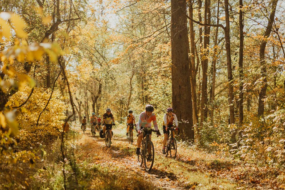 group of women cycling c&o canal towpath