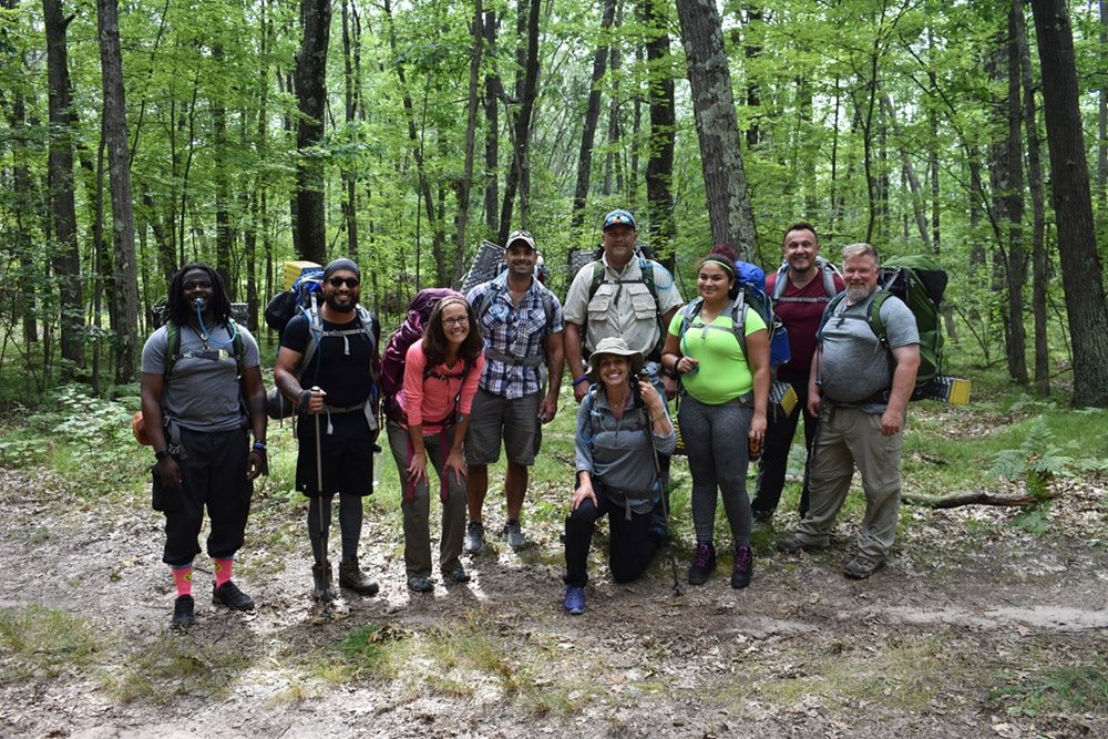 Adventures Accessed group on a backpacking course