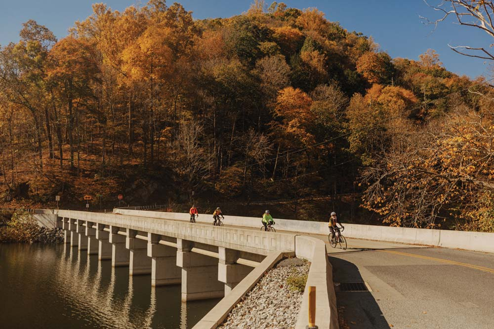 road cyclers in fall in allegany county